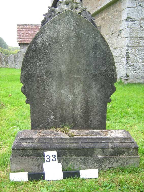 Back side of grave